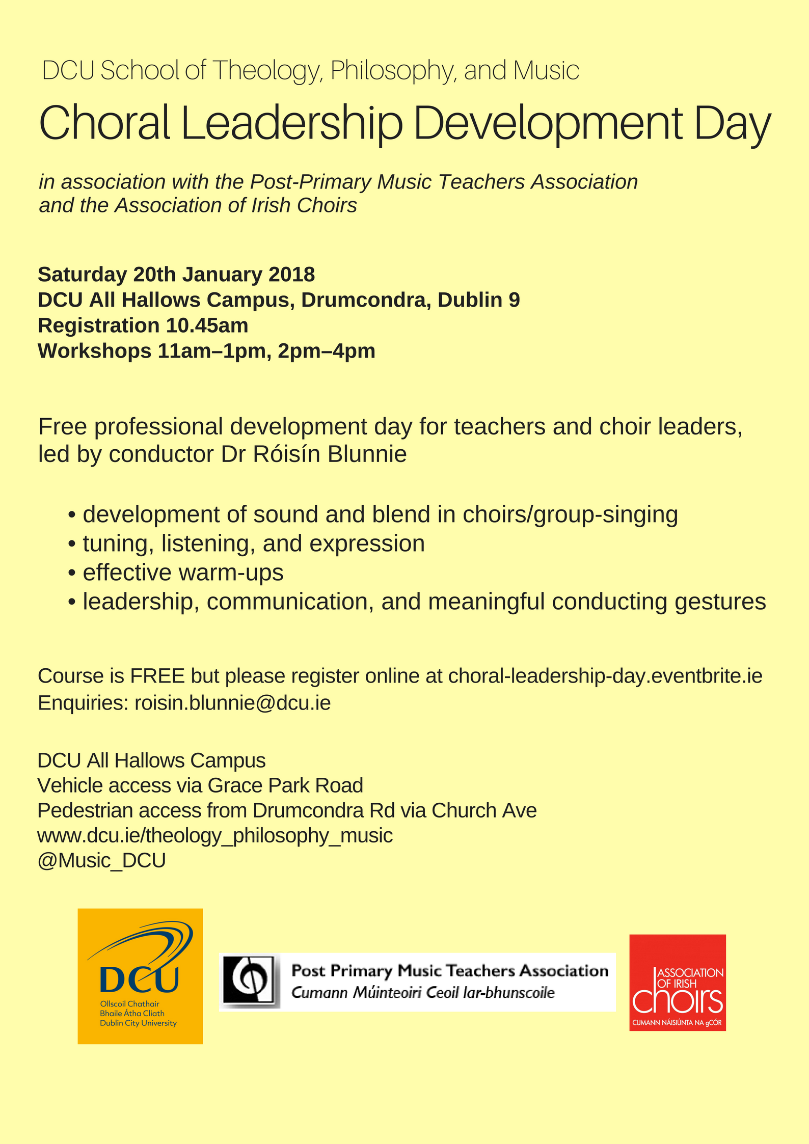 DCU Choral Leadership Day poster1a